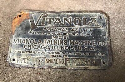 ANTIQUE VITANOLA TALKING MACHINE METAL LABEL PATENT 1917