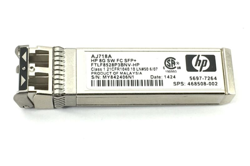 468508-002 Hp Aj718a 8gb Short Wave Fiber Channel Sfp+ Transaceiver