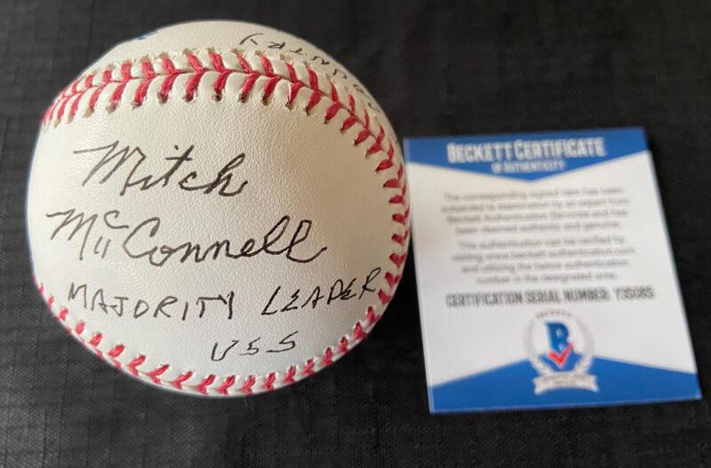 Mitch McConnell Signed Autographed Baseball USS Senate Leader 2 INSC Beckett COA
