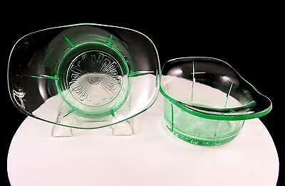 "US GLASS DEPRESSION ERA 2 PC TENDRIL VASELINE GLASS 5 1/2"" DESSERT SAUCE BOWLS"