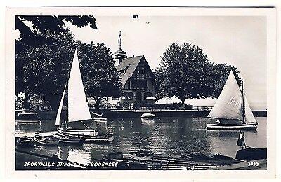 Vorarlberg BREGENZ Sporthaus / Segeln Segelboote * Foto-AK um 1940