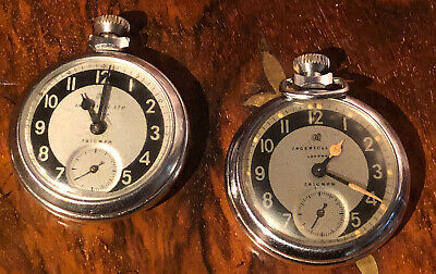 TWO VINTAGE 1950s INGERSOLL LTD LONDON TRIUMPH POCKET WATCHES COLLECTABLE