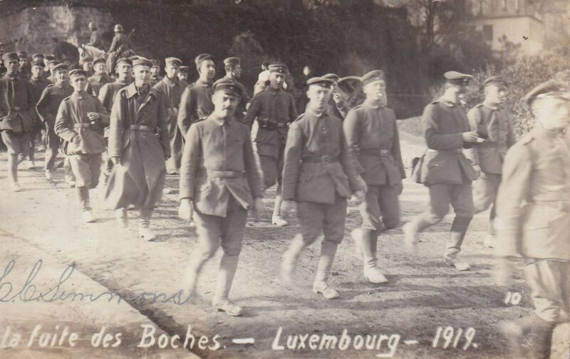 Original WWI RPPC Photo Postcard GERMANS MARCHING RETREAT Thru LUXEMBOURG 122