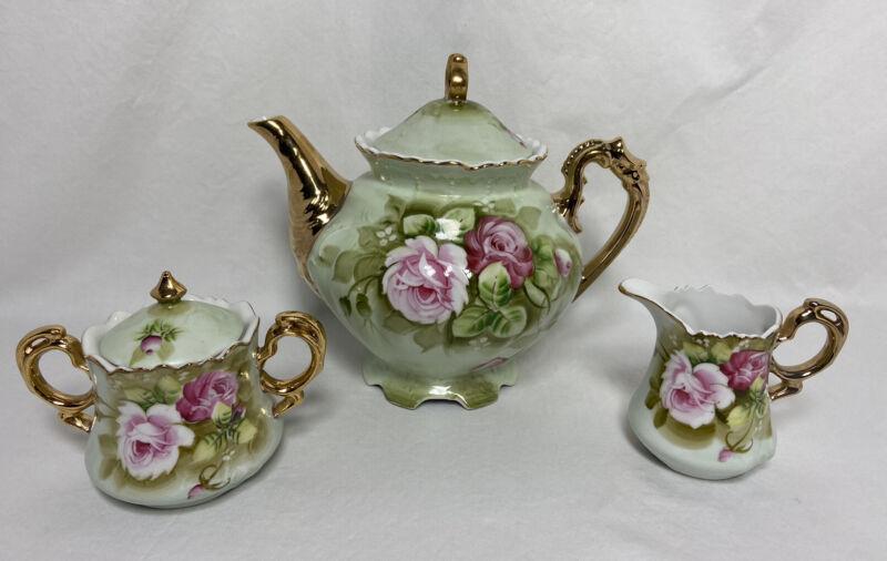 Lefton Hand Painted China Tea Pot 792 Set Trio Creamer Sugar 3066