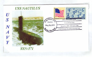USS NAUTILUS SSN-571 Submarine GWF 100th Seattle, WA Postmarked Cacheted Cover