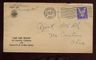 Us Mid Atlantic Advertising Cover  New Jersey Central R R   1943 Williamsport Pa