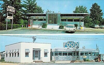 NJ Forked River & Waretown 1959-64 RAYS Retro DINER Restaurant MINT postcard