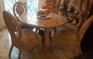 """48"""" Granite Round Dining Table With 4 Chairs & Matching Shelf"""