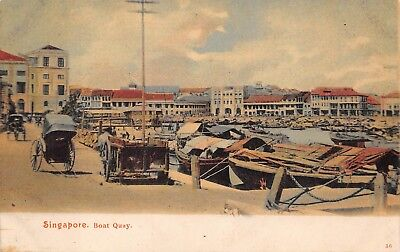 SINGAPORE ~ QUAY WITH BOATS, BUILDINGS, RICKSHAWS ~ c 1902