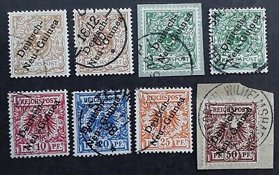 RARE 1900- German New Guinea lot of 8 Arms & Eagle stamps Used