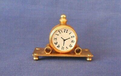 Vintage Miniature Brass Mantle Clock Dollhouse Miniatures C1980s