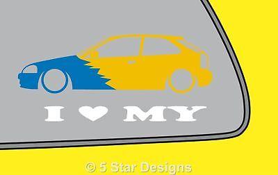 EJ sedan VTi For HONDA CIVIC EK 2X Lowered car outline JDM stickers
