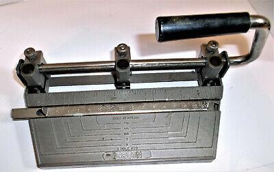 Vintage Boston Mfg Heavy Duty Metal 3-hole Punch Works Great