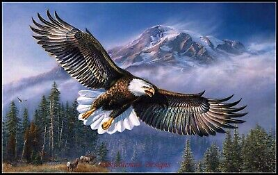 Eagle in Flight - Chart Counted Cross Stitch Patterns Needlework DIY DMC   for sale  Renton