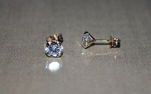 14k solid gold round bright clear cubic zirconia prong set stud earrings
