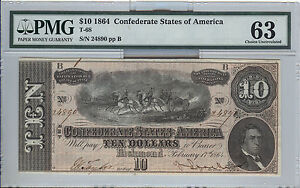 1864 $10  T-68   CONFEDERATE NOTE  PMG CHOICE UNC 63