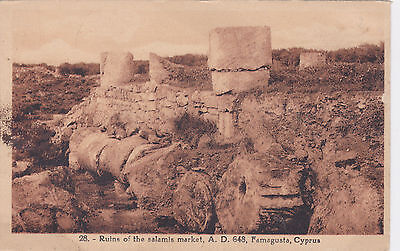 CYPRUS POSTCARD FAMAGUSTA RUINS OF THE SALAMIS MARKET AD 648 AVEDISSIAN NO 28