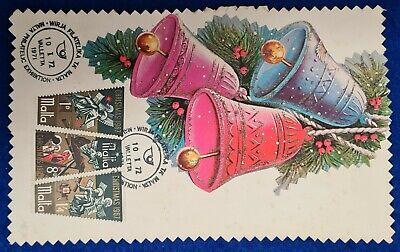 1972/1971 MALTA CHRISTMAS SET + MALTA PHILATELIC EXHIBITION SHC ON EXHIBIT CARD