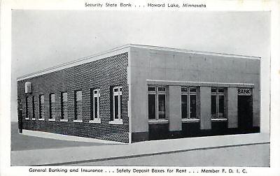 Howard Lake Minnesota Security State Bank 1950S B W Postcard
