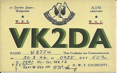 OLD VINTAGE VK2DA NEW SOUTH WHALES AUSTRALIA AMATEUR RADIO QSL CARD
