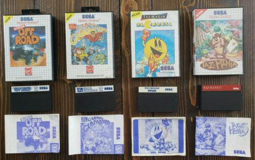 4 PAL Sega Master System Game Lot All Complete Super Off Road Taz-Mania Pacmania