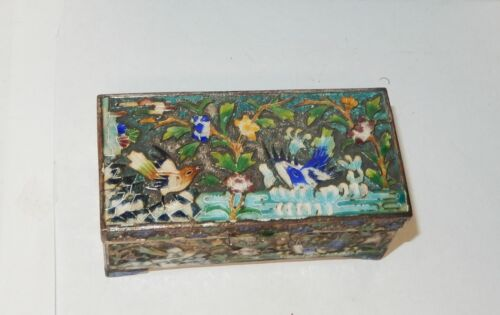OLD SILVER TONE CLOISONNE REPOUSSE ENAMEL CHINESE BIRD DOUBLE SIDE STAMP JAR BOX