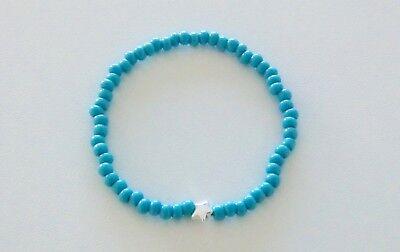 Armband mit Stern - silber & türkis - elastisch - NEU - Stern - Style - Trend!!!