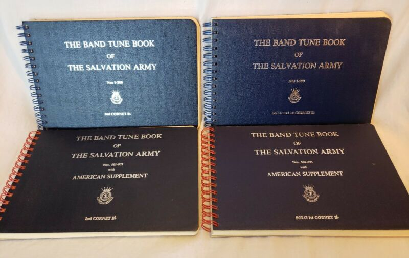 Lot Of 4 The Band Tune Book of The Salvation Army 1st & 2nd Cornet Bb-Rare-