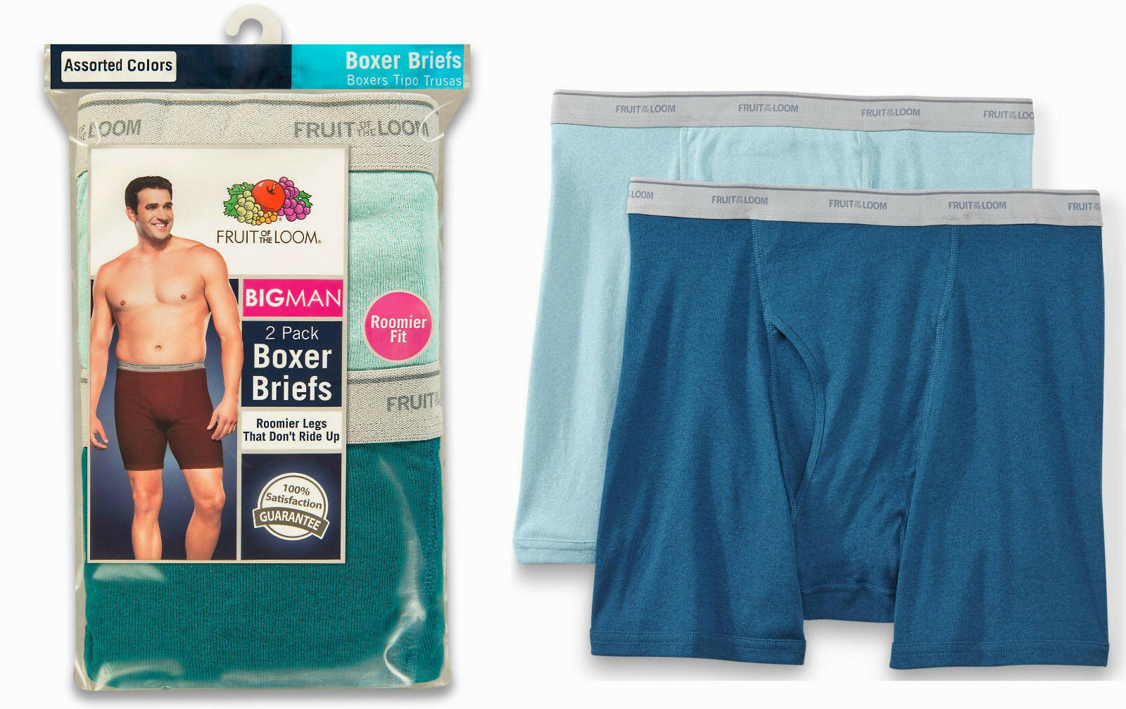 Fruit of the Loom Mens Big & Tall Big Man 2-Pack Boxer Brief