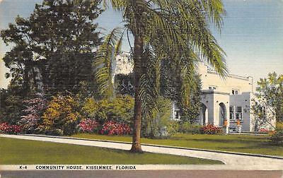 Kissimmee Florida Community House Palm Trees 1949 Linen Postcard