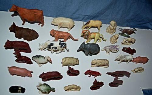 "Vintage Mixed Lot 32 Plastic Animal Toy Figures Sizes 1.5""- 3"" Birds Farm Wildli"