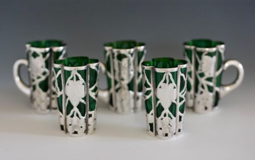 """SET OF 5 STERLING SILVER OVERLAY Apertifs .....  ca. 1908 2 3/8"""" tall"""