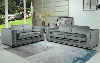 Velvet Sofa Fabric Chesterfield Style 3 seater Grey Brown Black Small Compact