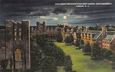 Durham University of North Carolina~Moonlight Over the Quadrangle~1940s Linen - Linens North Carolina University