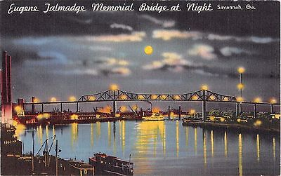 Georgia postcard Savannah Eugene Talmadge Memorial Bridge at Night linen