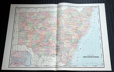 Crams Railway System Atlas Map New South Wales New Guinea West Australia 1895