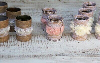 Wedding Decor Handmade 19 Rustic Flower Vases Tin Cans Centerpiece Burlap Jute - Burlap Centerpieces