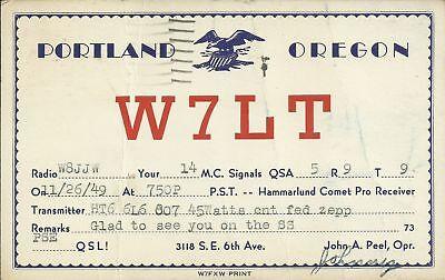 OLD VINTAGE W7LT PORTLAND OREGON USA AMATEUR RADIO QSL CARD