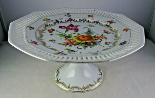 Bavaria Dresden Style Footed Reticulated Floral & Gold Compote
