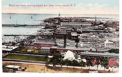 BIRD'S EYE VIEW FROM CONEY ISLAND LOOKING TOWARD SEAGATE COMMUNITY, BROOKLYN NYC