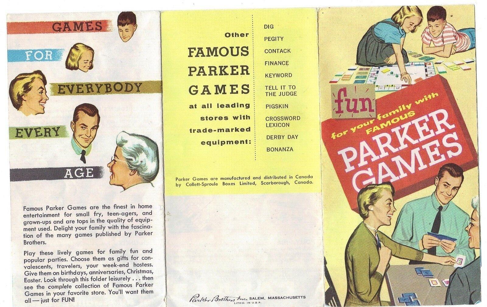 Vintage Famous Parker Brothers Board Games Advertising Flyer Brochure Insert