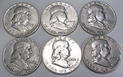 FRANKLIN HALF DOLLARS - SET OF 6  COINS FROM THE DENVER MINT - 1949-1954