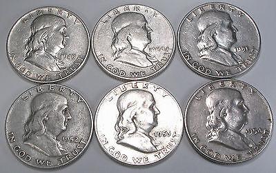 FRANKLIN HALF DOLLARS   SET OF 6 NICE COINS FROM THE DENVER MINT   1949 1954