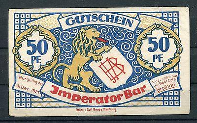 Hamburg 50 Pfennig Notgeld Imperator Bar
