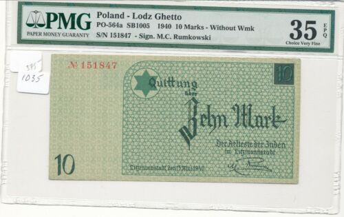 WWII Germany Poland Lodz (Litzmannstadt) Ghetto 10 Mark PMG 35 EPQ