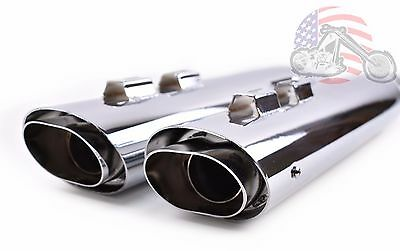 Chrome Oval Twin Slash Cut Slip-On Mufflers Exhaust Pipes Harley Touring Bagger