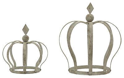 Krone grau Deko Garten Balkon Terrasse Shabby Vintage