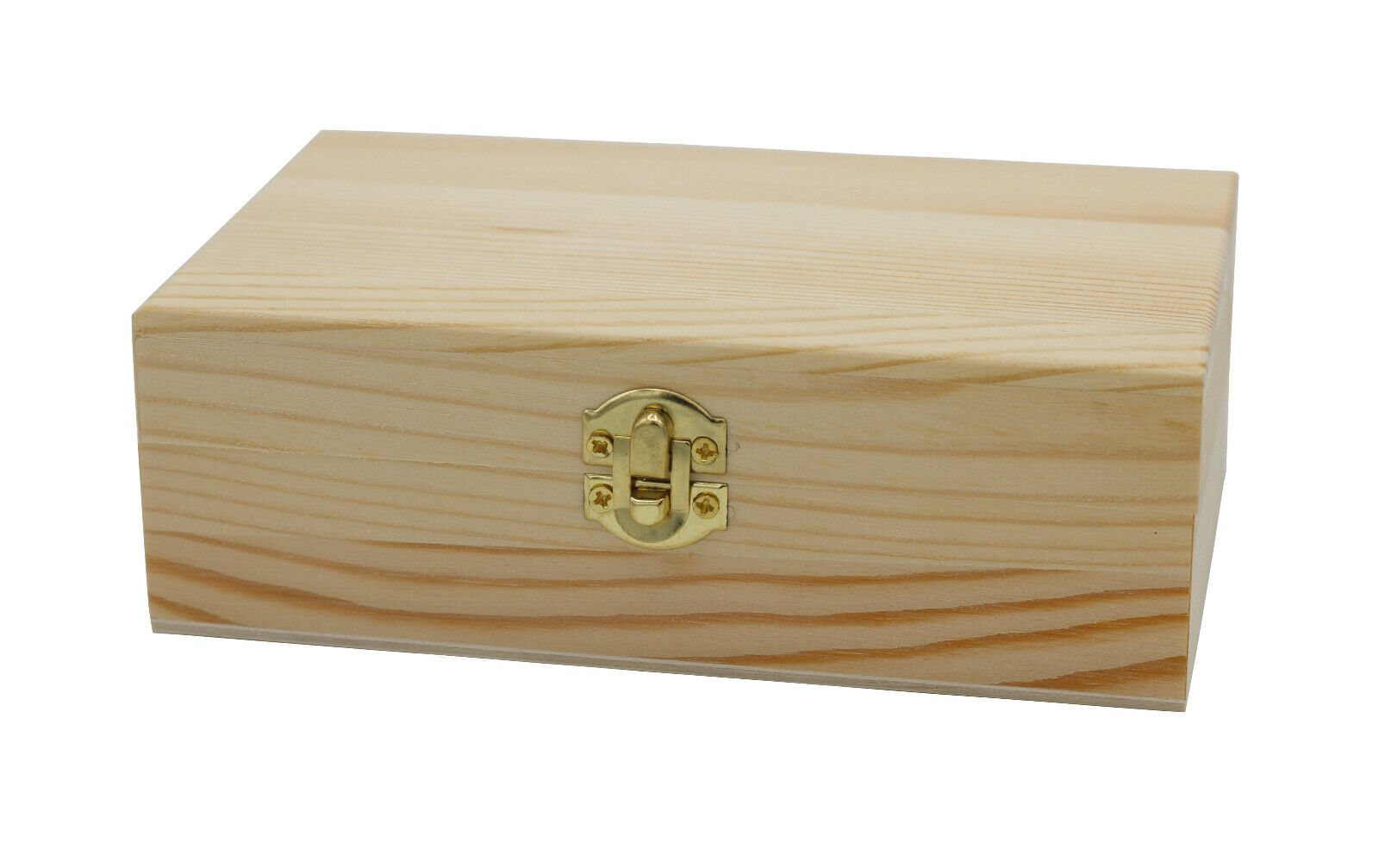 Unfinished Wood Craft Box – Light Unfinished Wood with Clasp 6″ x 4″ x 2″ Collectibles