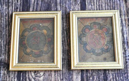 Framed Mongolian Tibetan Antique Thanka Thangka Tsakli Card Set