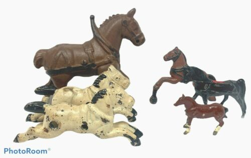 Vintage Cast Iron Metal HORSES Collection Clydesdale Figure Figurine Statue LOT